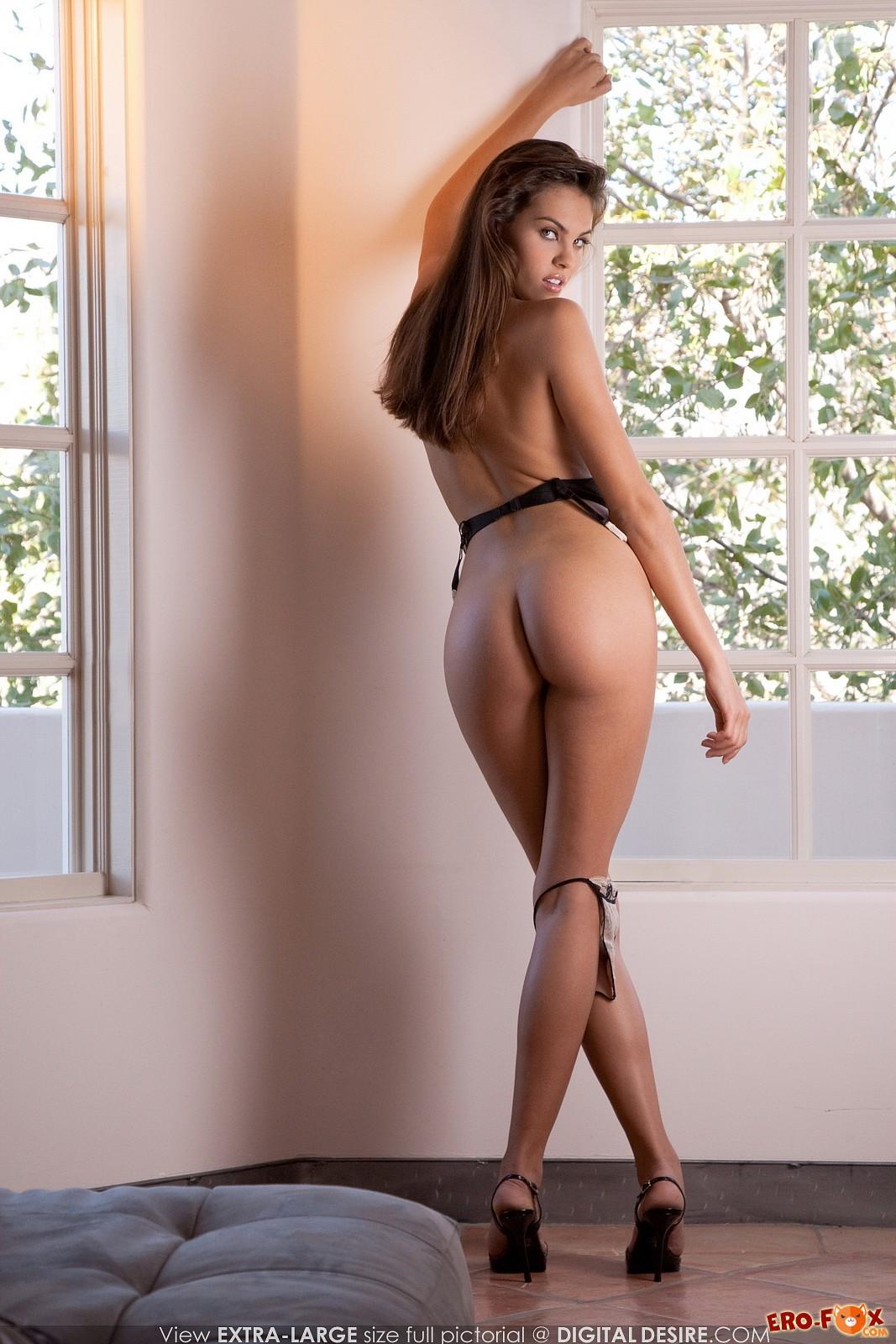 Девушка эротично позирует в нижнем белье и туфлях - фото