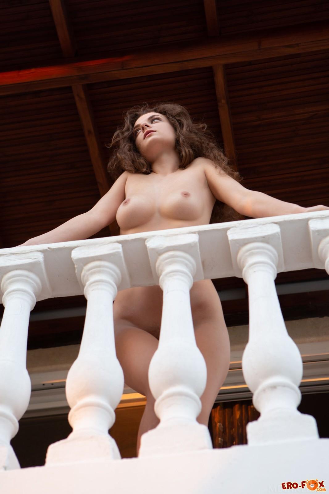 Обаятельная голая девица с волосатым лобком - фото
